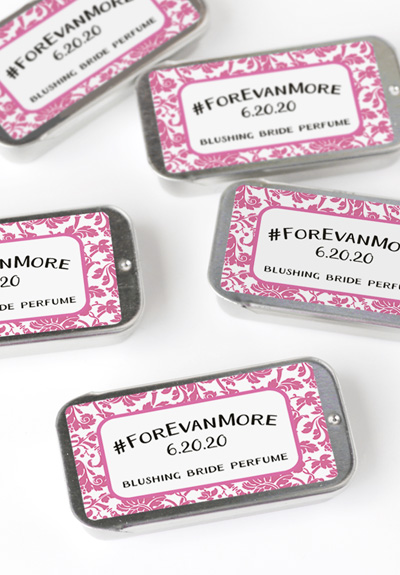 wedding hashtag bridal shower favors